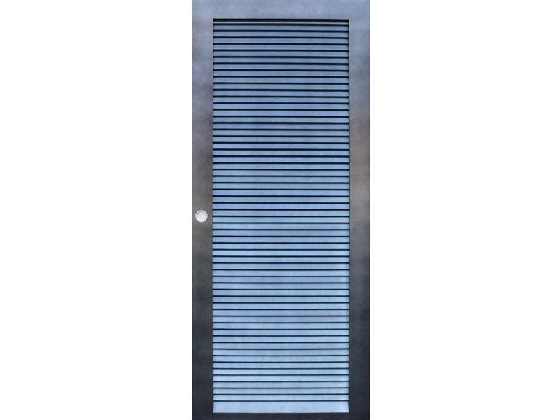 Porte de placard modèle Persienne en hêtre poncé, gris nacré- Recto