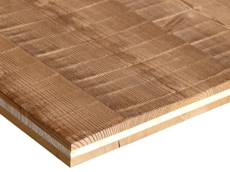 Panneau massif 3 plis en mélèze étuvé scié