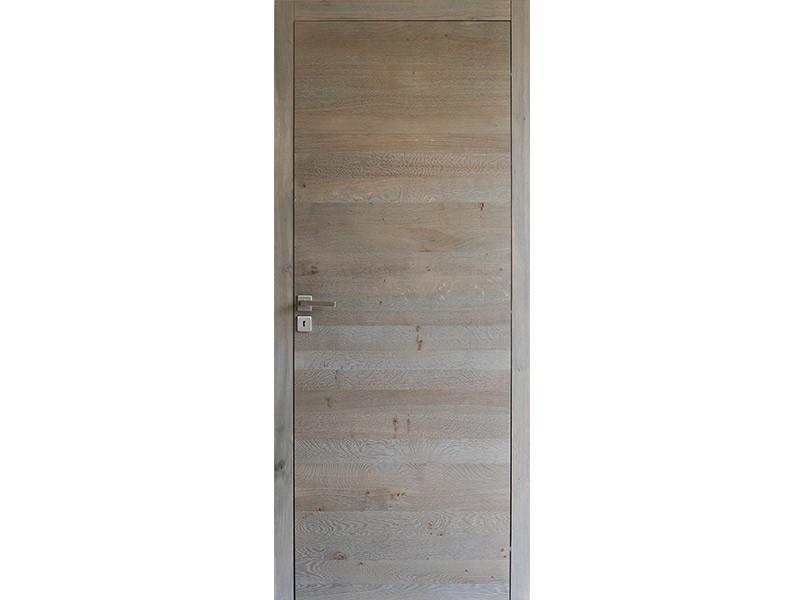 Bloc-porte Plate en chêne finition bois flotté
